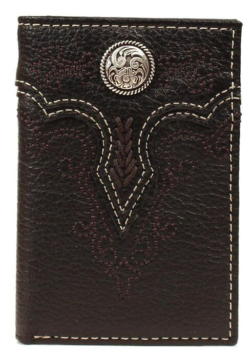Ariat Fancy Concho Tri-fold Wallet, Black, hi-res