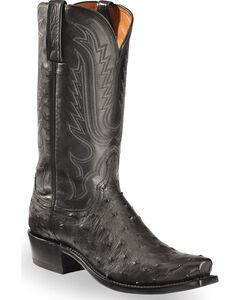 Lucchese Men's Black Luke Full Quill Ostrich Boots - Snip Toe , Black, hi-res