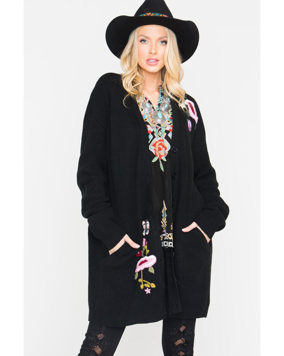 Miss Me Women's Black Floral Embroidered Sweater , Black, hi-res