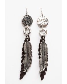Idyllwind Women's Wing Feather Earrings, Silver, hi-res