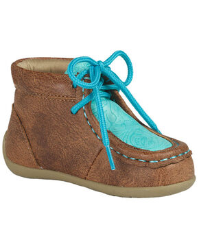 M&F Western Infant Girls' Lace-Up Moccasin Slippers - Moc Toe, Tan, hi-res
