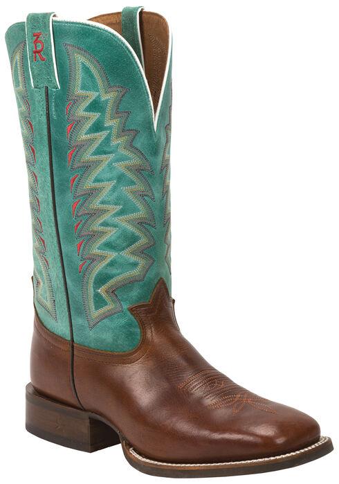 Tony Lama Cognac Crockett 3R Western Cowboy Boots - Square Toe , , hi-res