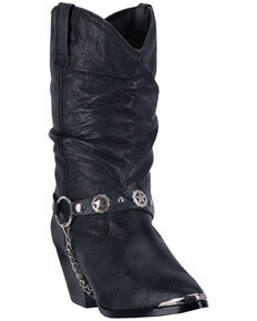 Dingo Supple Pigskin Cowgirl Boots, Black, hi-res
