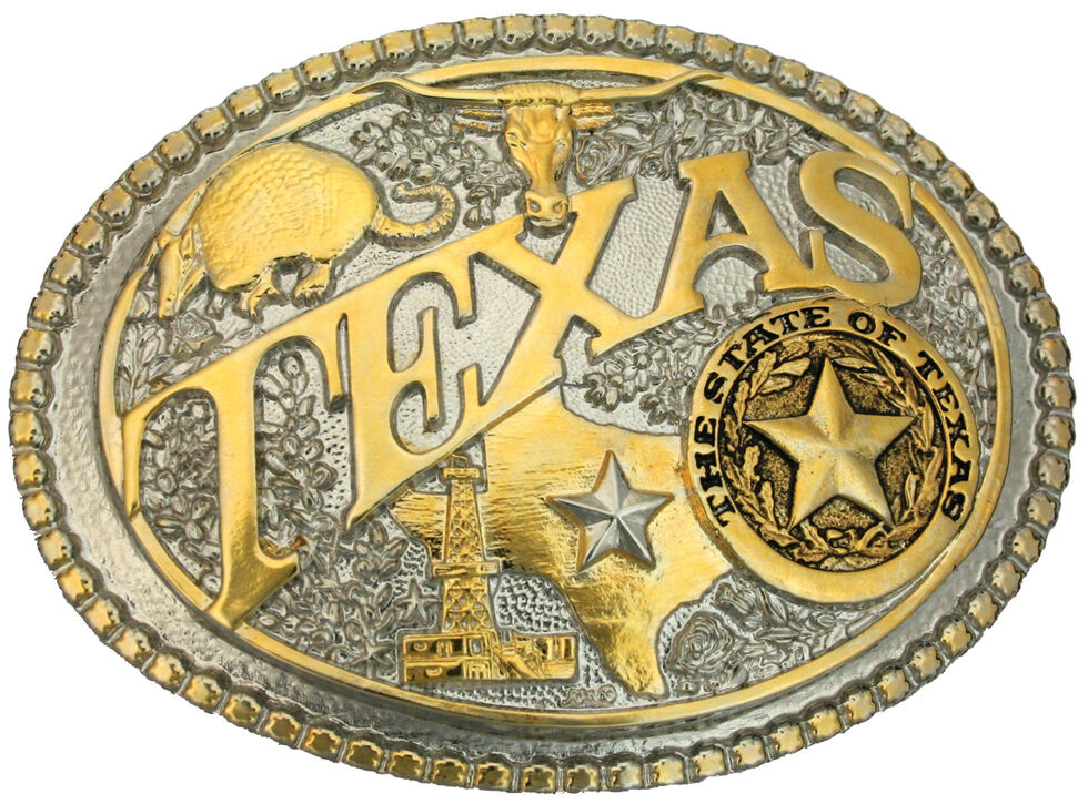Montana Silversmiths Two-Tone Texas State Heritage Attitude Belt Buckle, Gold, hi-res