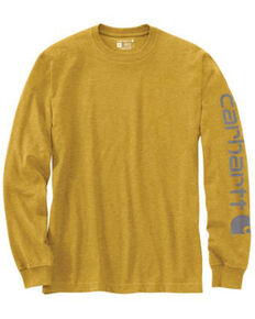 Carhartt Men's Yellow Logo Heavyweight Graphic Long Sleeve Work T-Shirt , Yellow, hi-res