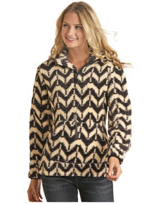 Powder River Outfitters Women's Aztec Berber Print 1/2 Zip Hooded Pullover, Multi, hi-res