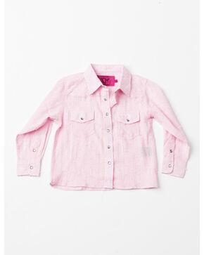 Cowboy Hardware Toddler Girls' Lurex Print Woven Shirt , Pink, hi-res