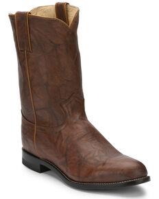 Justin Men's Classics Deerlite Roper Cowboy Boots - Round Toe, Chestnut, hi-res
