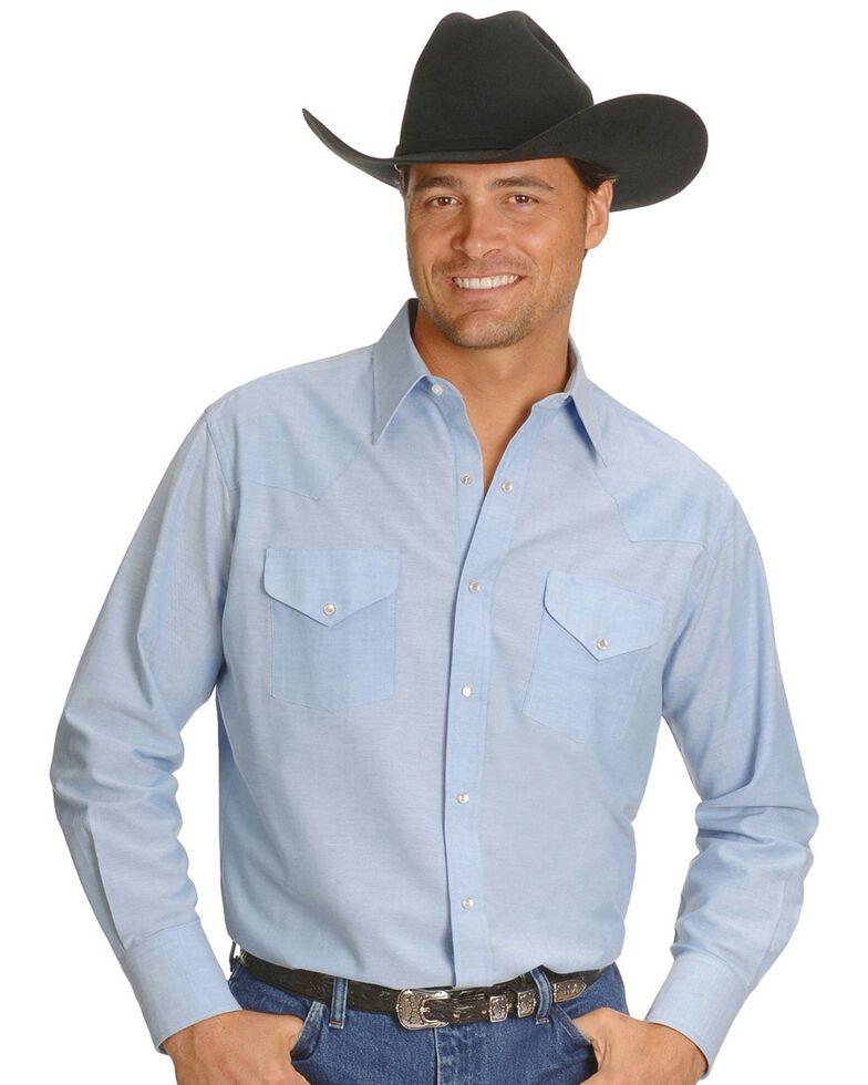 Ely Solid Oxford Western Shirt - Big & Tall, Light Blue, hi-res