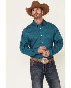 Cody James Core Men's Miner Geo Print Long Sleeve Button-Down Western Shirt , Blue, hi-res