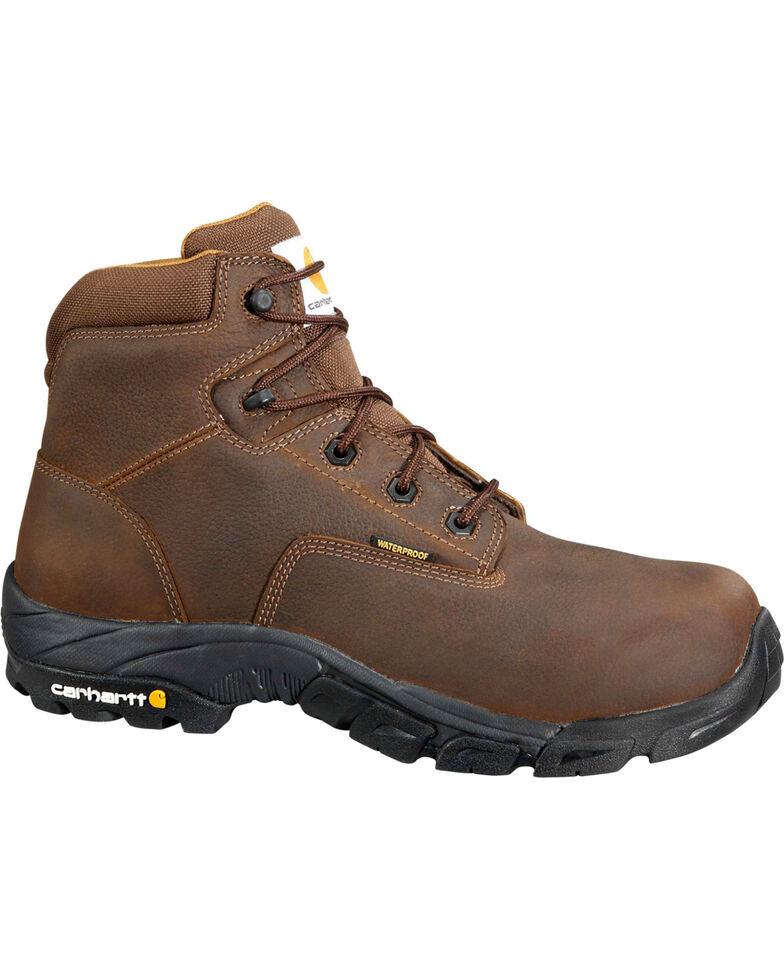 """Carhartt Men's 6"""" Waterproof Bison Brown Work Hiker Boots - Composite Toe, Chocolate, hi-res"""