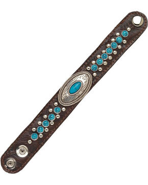 American West Women's Chestnut Narrow Turquoise Cuff Bracelet , Chestnut, hi-res