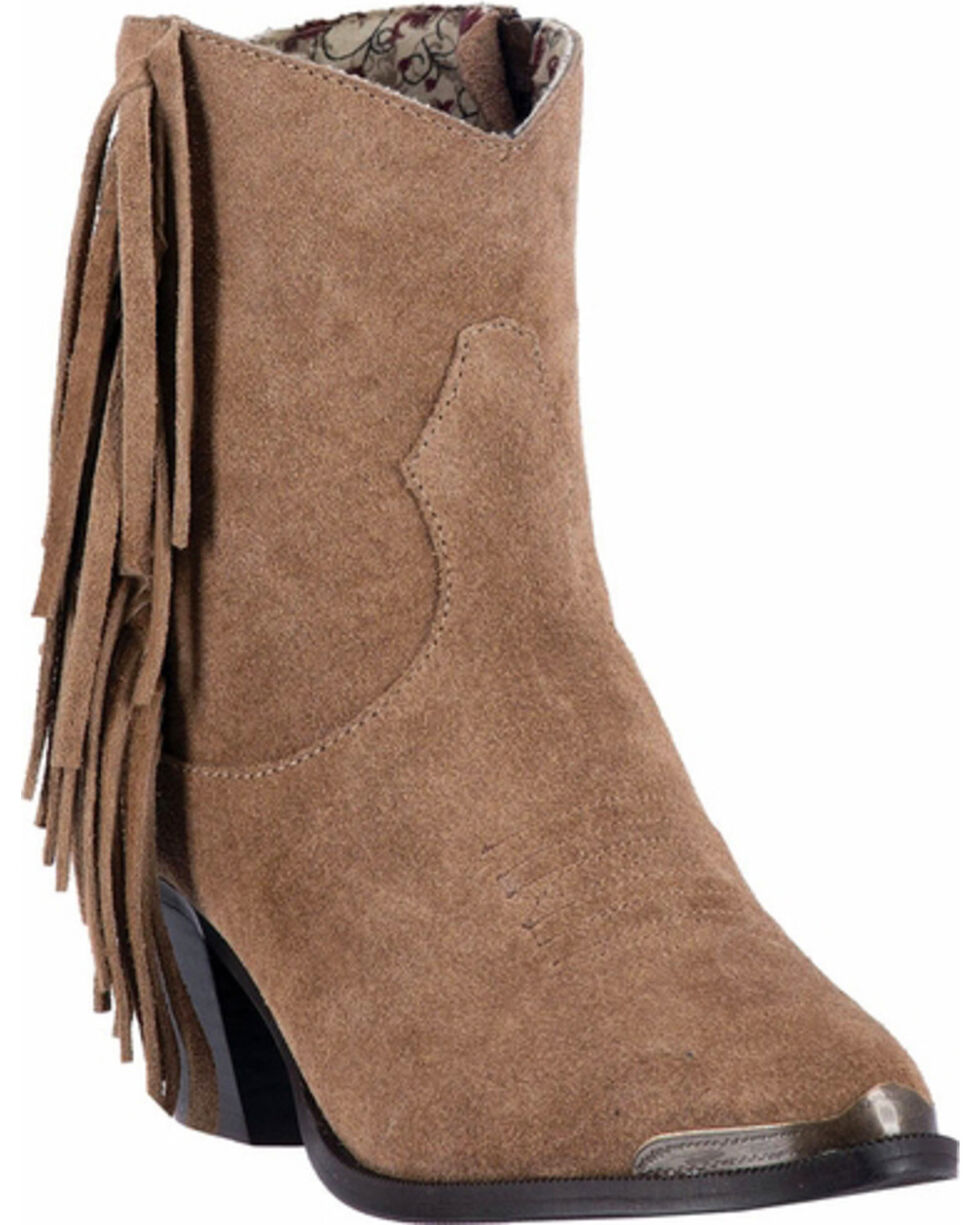Dingo Women's Gigi Fringe Side Zip Short Boots - Medium Toe , Tan, hi-res