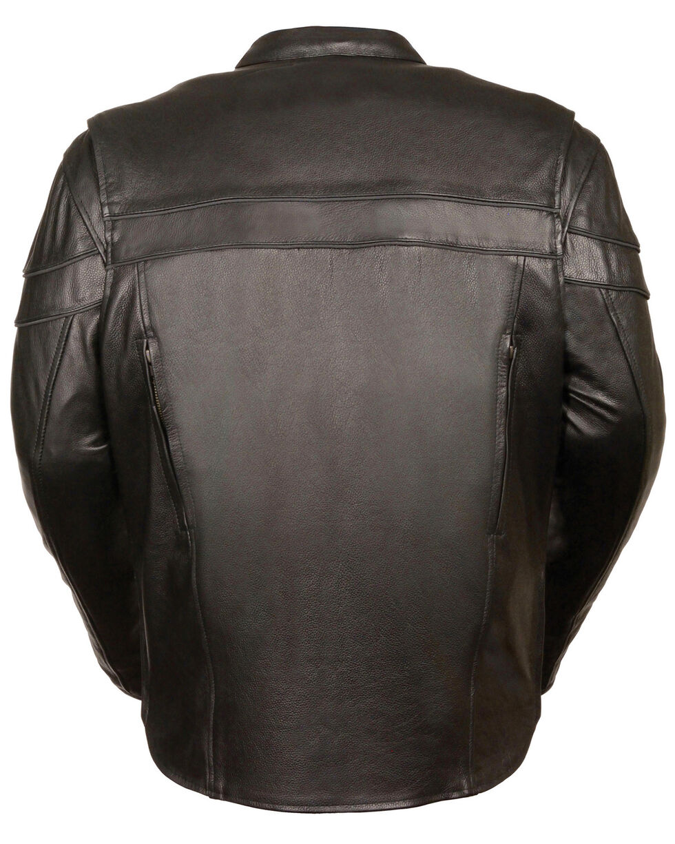 Milwaukee Leather Men's Sporty Scooter Crossover Jacket, Black, hi-res
