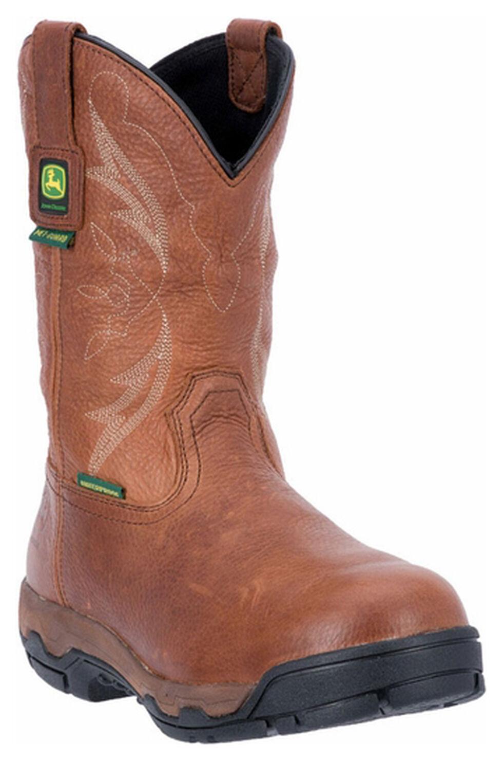 John Deere Men's Leather Pull-On Waterproof Work Boots - Aluminum Toe, Cinnamon, hi-res