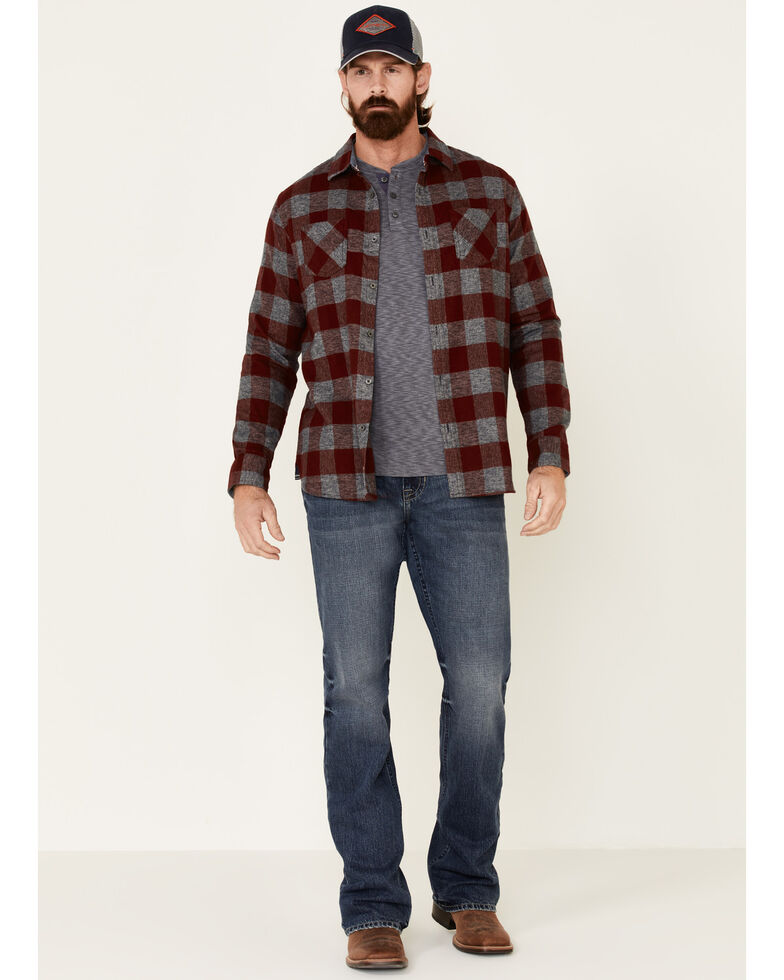 Flag & Anthem Men's Maroon Harrells Plaid Long Sleeve Western Flannel Shirt , Maroon, hi-res
