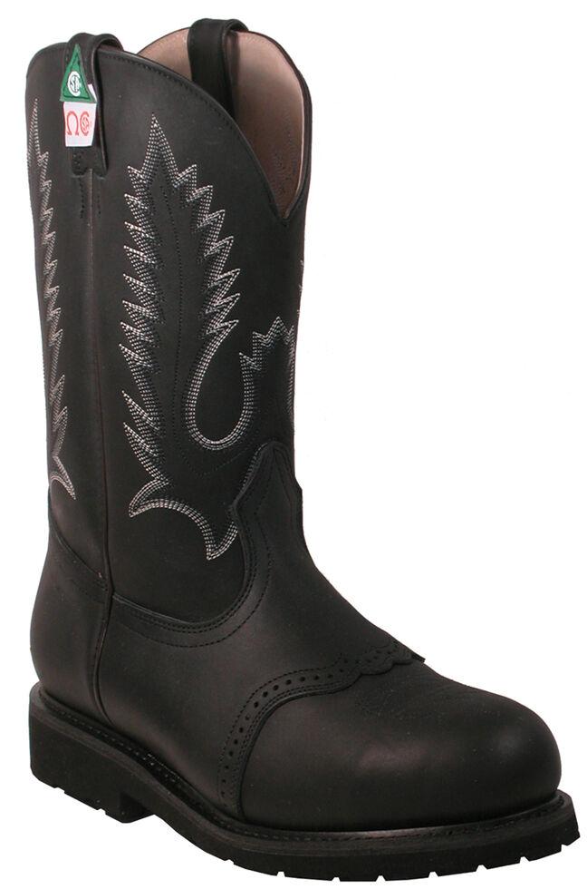 Boulet Pull-On Vibram Work Boots - Steel Toe, Black, hi-res
