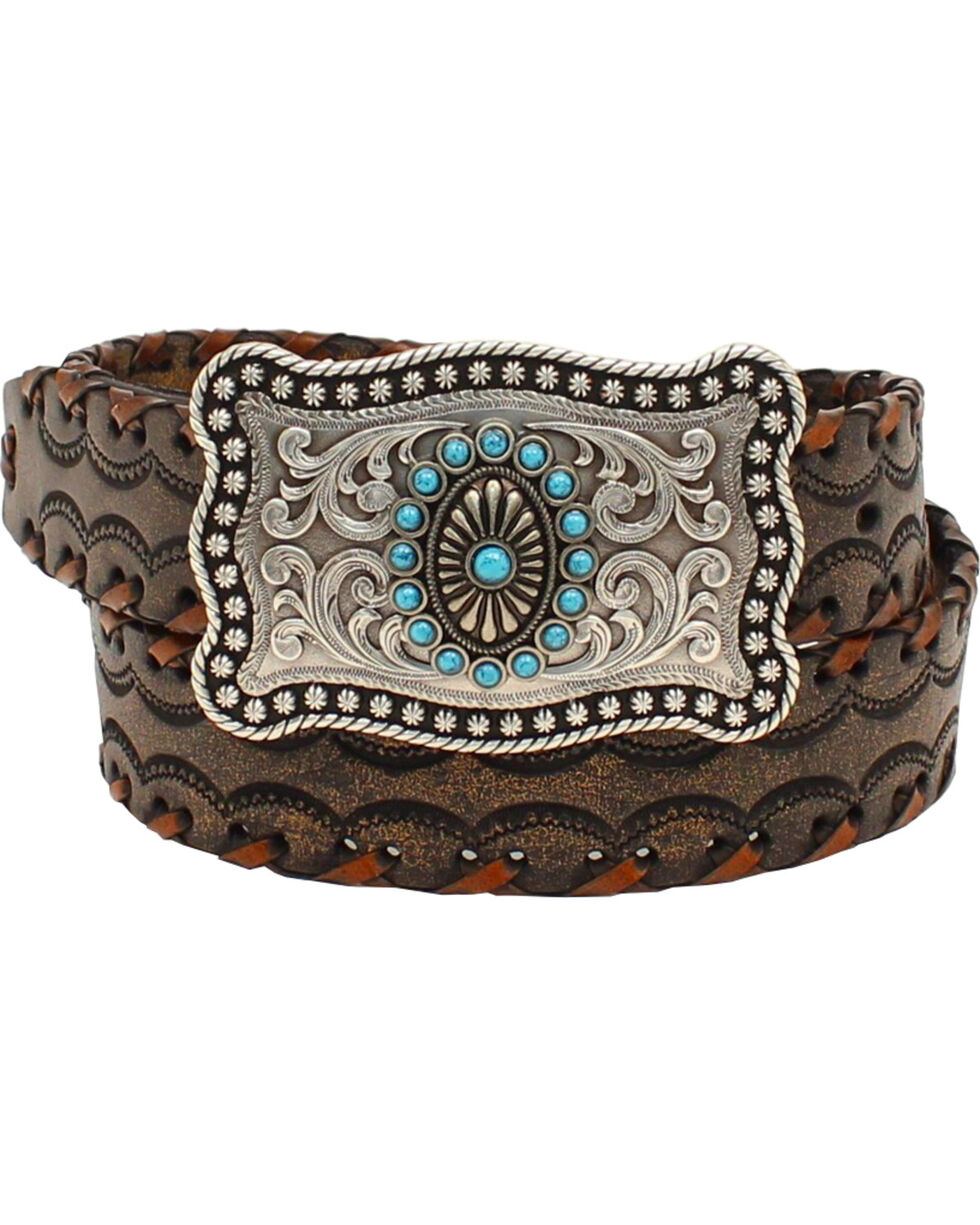 Ariat Women's Lace Stitch Belt , Brown, hi-res