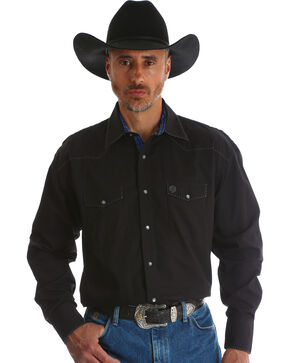 George Strait by Wrangler Men's Troubadour Black Long Sleeve Western Shirt, Black, hi-res