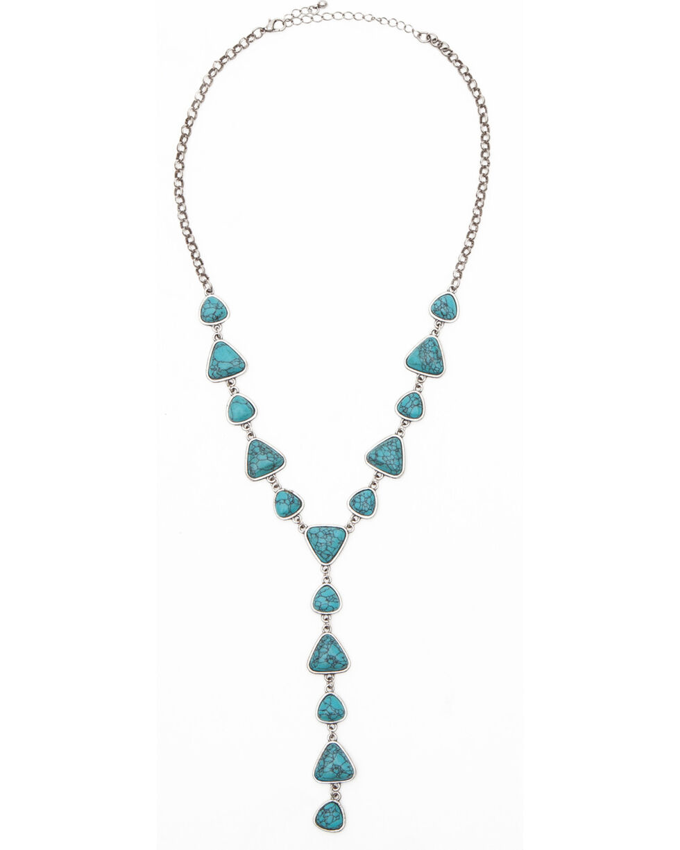 Shyanne Women's Turquoise Stone Y-Necklace, Turquoise, hi-res