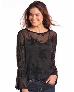 Panhandle Women's Floral Fine Mesh Long Sleeve Top , Black, hi-res