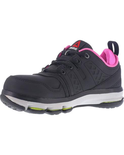 Reebok Women's Athletic Oxford DMX Flex Work Shoes - Alloy Toe , Black, hi-res