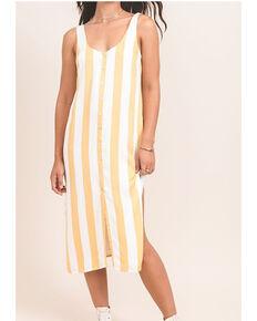 Others Follow Women's Mustard Stripe Button Foxtrot Dress, Dark Yellow, hi-res