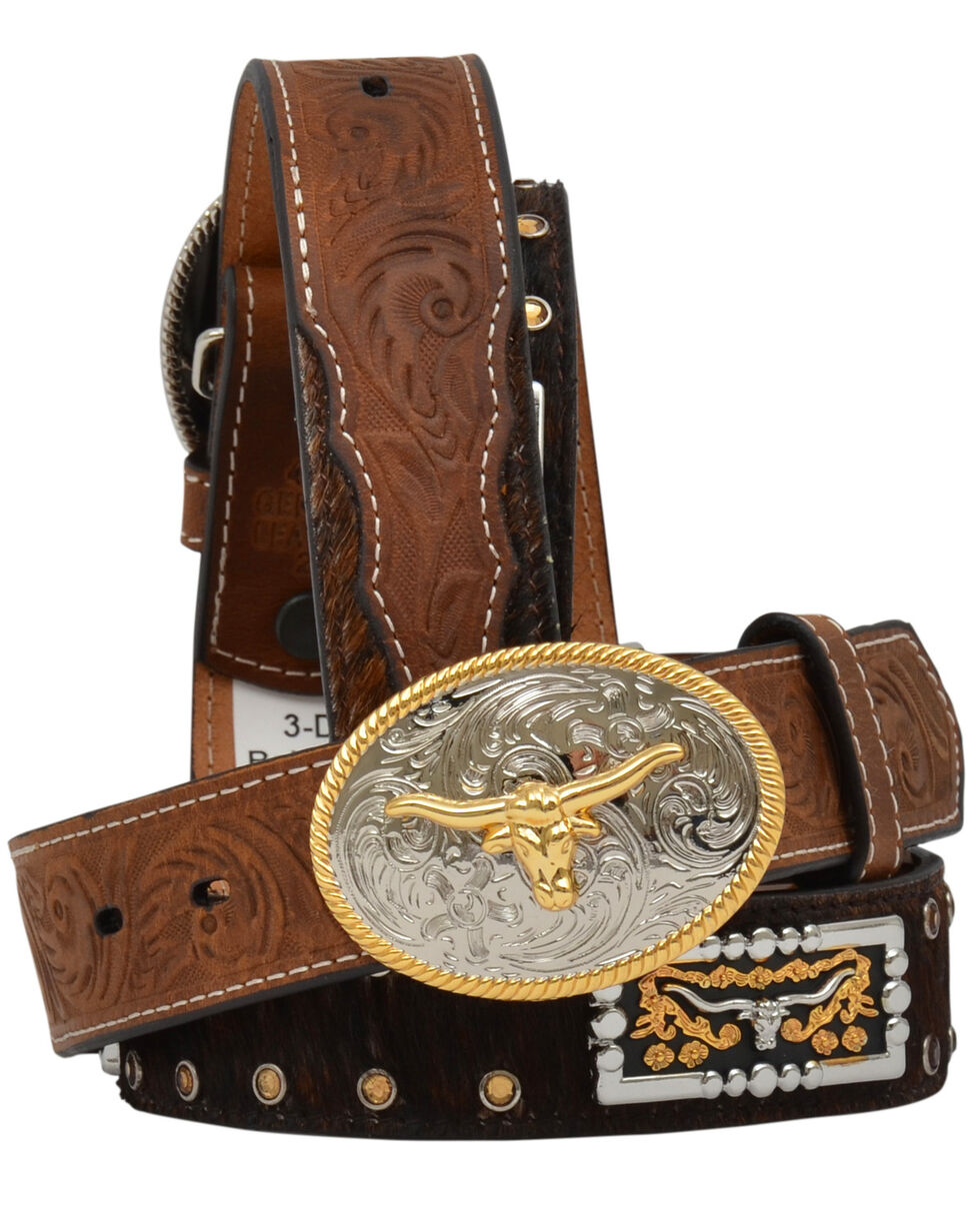 3D Boys' Hair-On Longhorn Concho Buckle Belt, Distressed Brown, hi-res
