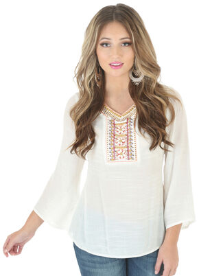 Wrangler Rock 47 Women's Applique Bell Sleeve Top, Vanilla, hi-res