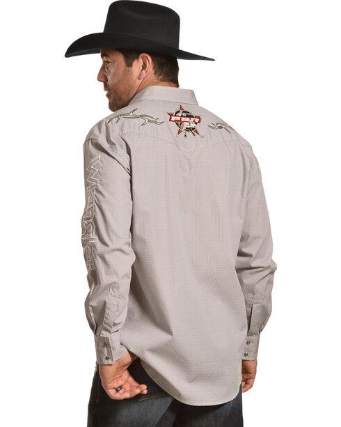 Wrangler Men's PBR Logo Long Sleeve Snap Shirt, Grey, hi-res