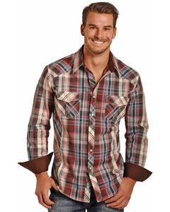 Rock & Roll Cowboy Men's Long Sleeve Twill Plaid Snap Shirt, Brown, hi-res