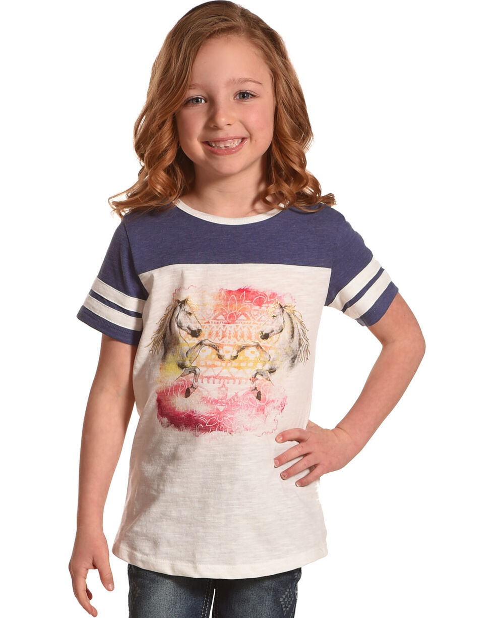 Shyanne Girls' Raglan Horse Graphic Tee, White, hi-res