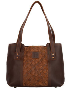 STS Ranchwear By Carroll Basket Weave Small Tote , Brown, hi-res