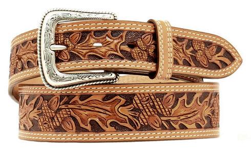 Nocona Leaf Tooled Belt, Natural, hi-res