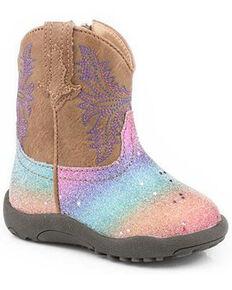 Roper Infant Girls' Glitter Rainbow Poppet Boots - Round Toe, Tan, hi-res