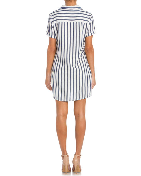Miss Me Women's Striped Lace-Up Dress, Navy, hi-res