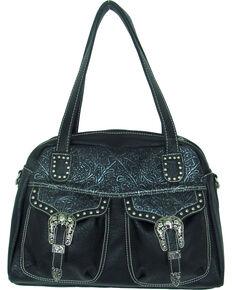 Savana Women's Faux Leather Double Pocket Handbag , Black, hi-res