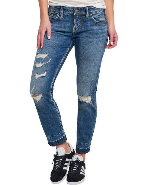Silver Women's Indigo Dark Wash Sam Boyfriend Jeans - Tapered Leg , Indigo, hi-res