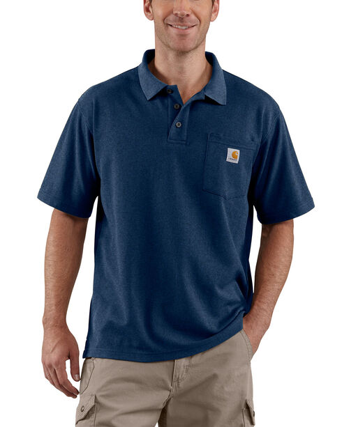 Carhartt Contractor's Work Pocket Polo Shirt - Big & Tall, Dark Blue, hi-res