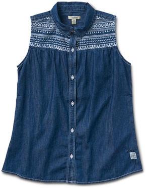 Silver Girls' Denim Sleevless Shirt, Indigo, hi-res