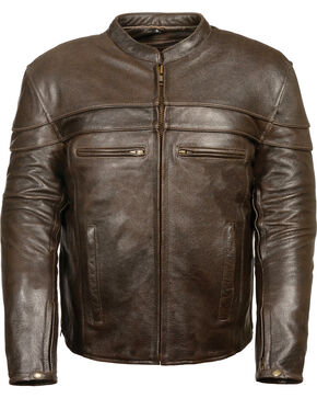 Milwaukee Leather Men's Brown Sporty Scooter Crossover Jacket - Big - 5X, Brown, hi-res