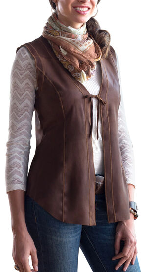 Ryan Michael Women's Ella Tie-Front Reversible Leather Vest, Light Brown, hi-res