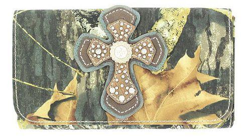 Blazin Roxx Mossy Oak with Cross Applique Wallet, Mossy Oak, hi-res