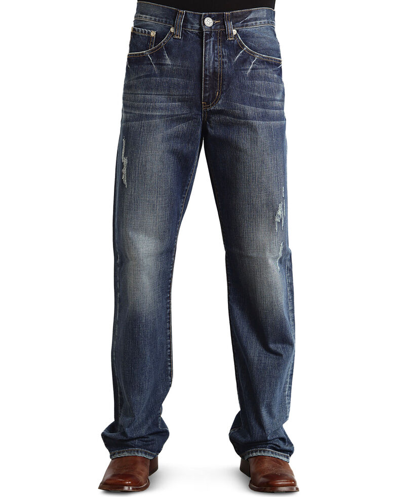 "Stetson Modern Fit Embossed ""X"" Stitched Jeans - Big & Tall, Med Wash, hi-res"