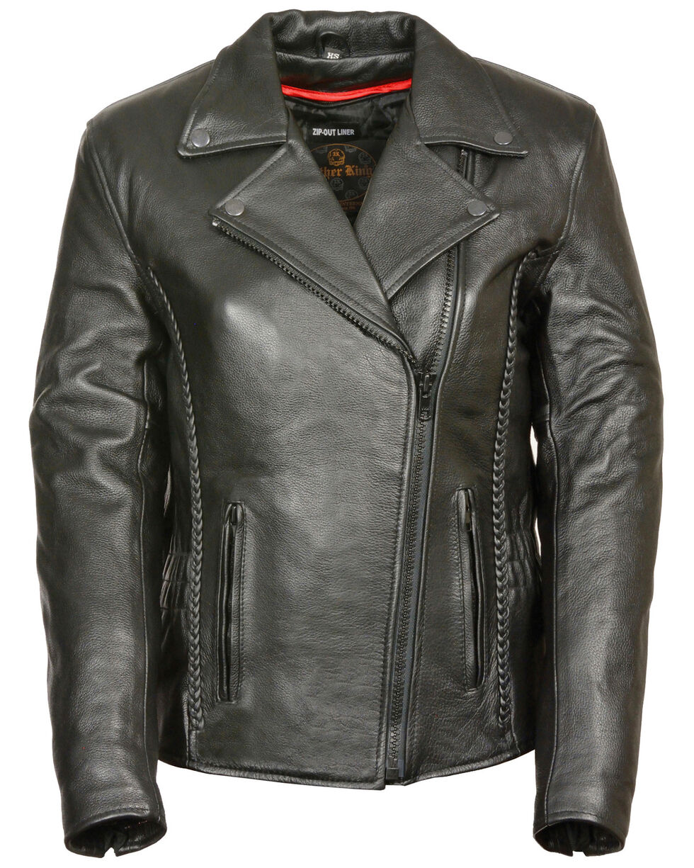 Milwaukee Leather Women's Braid & Stud Leather Jacket - 5X, Black, hi-res