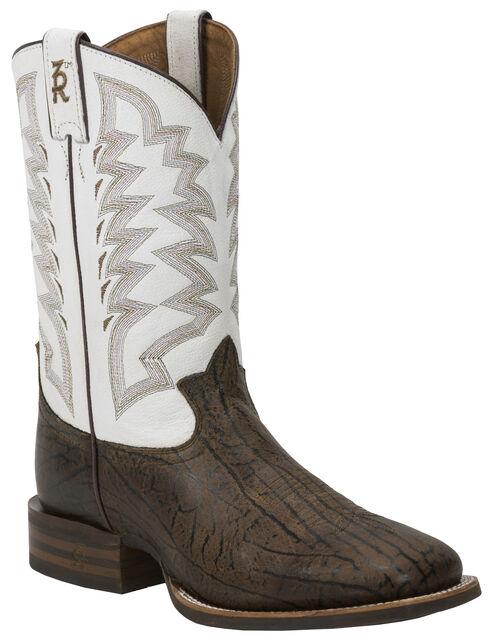 Tony Lama Men's Wax Uvalde 3R Stockman Cowboy Boots - Square Toe , Brown, hi-res