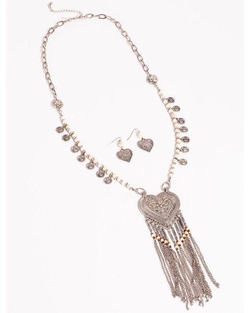 Shyanne Women's Heart Pendant Jewelry Set, Silver, hi-res