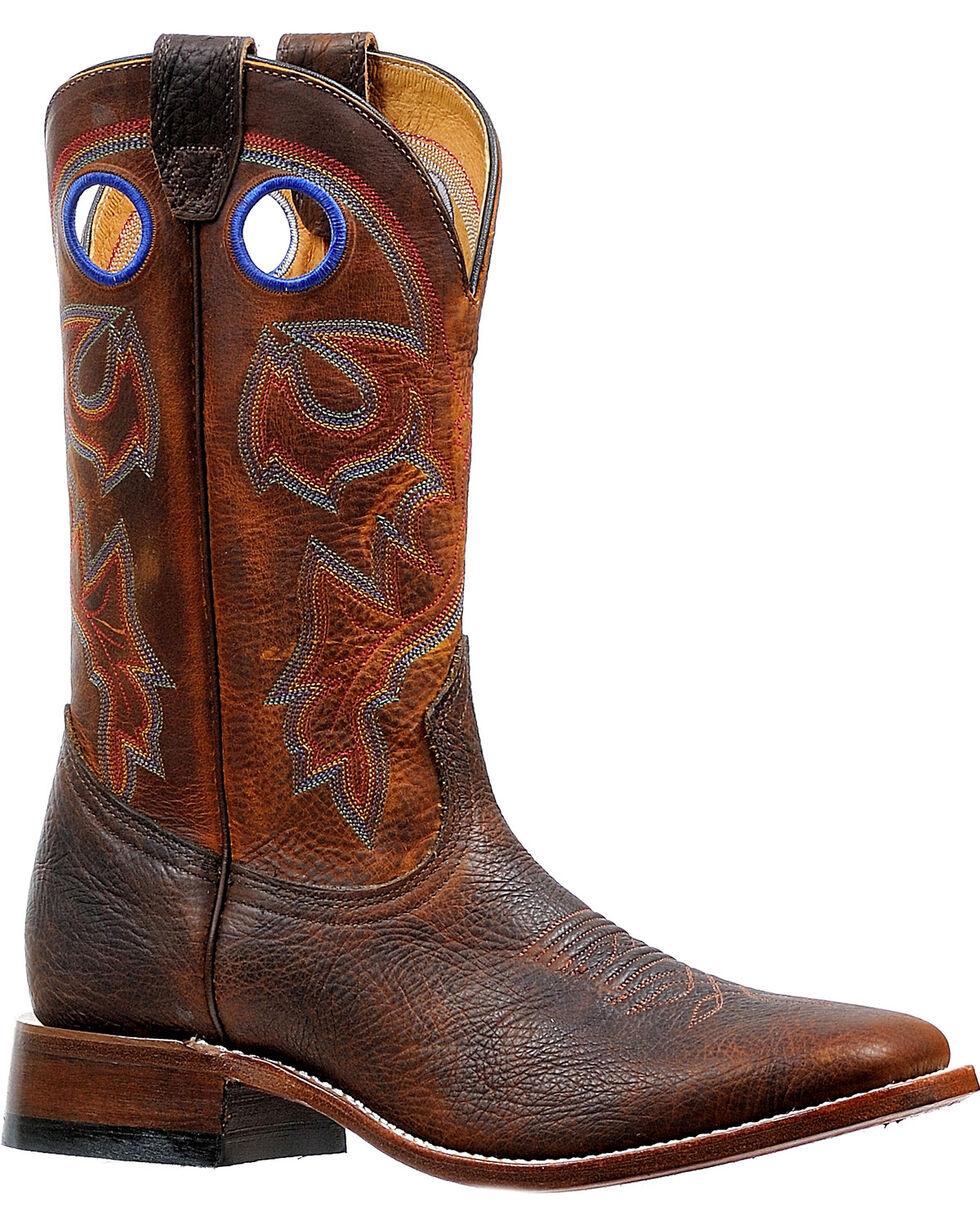 Boulet Men's Rough Rider Amber Gold Stockman Cowboy Boots - Square Toe, Brown, hi-res