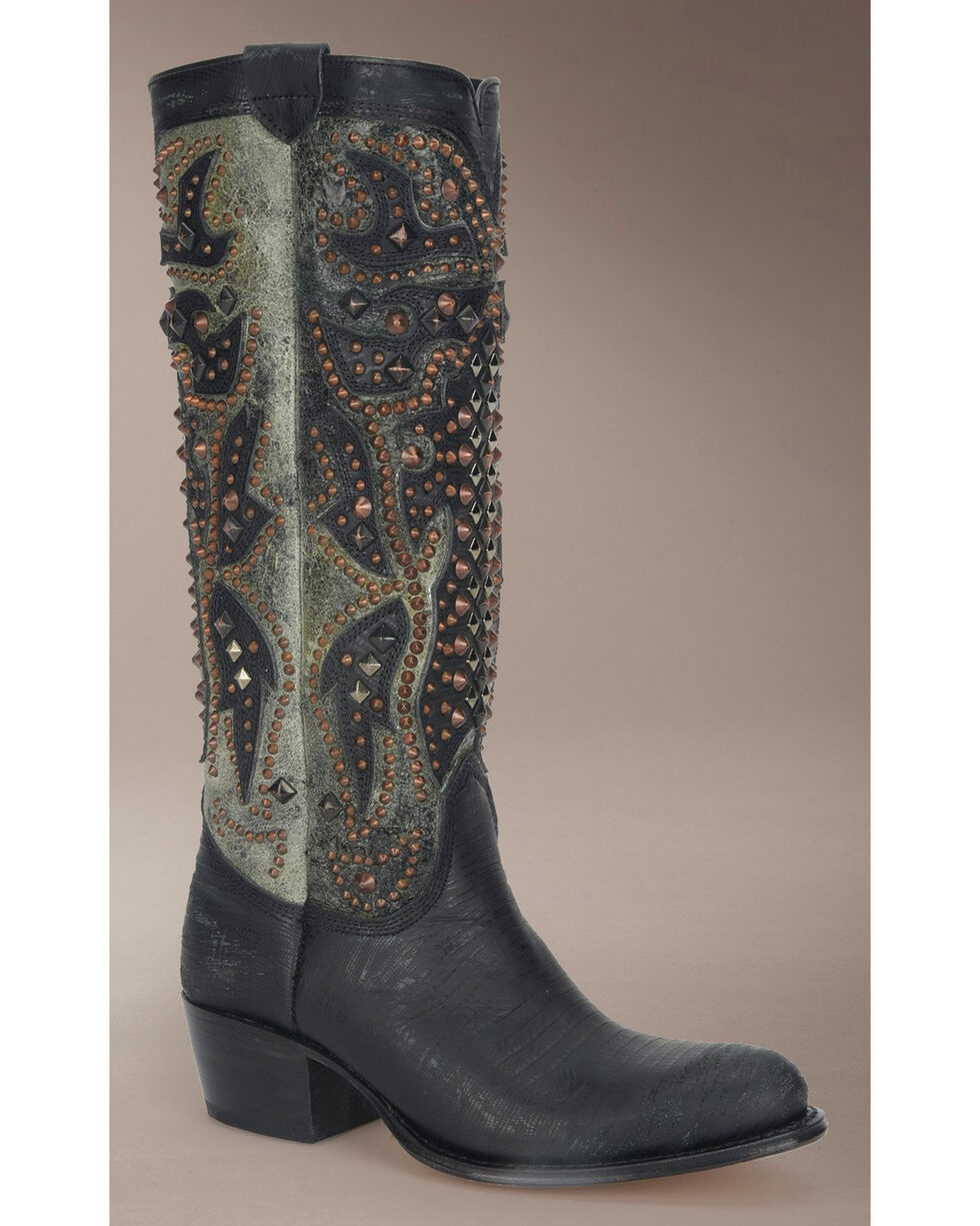 Frye Women's Deborah Deco Tall Cowgirl Boots - Round Toe, Black, hi-res