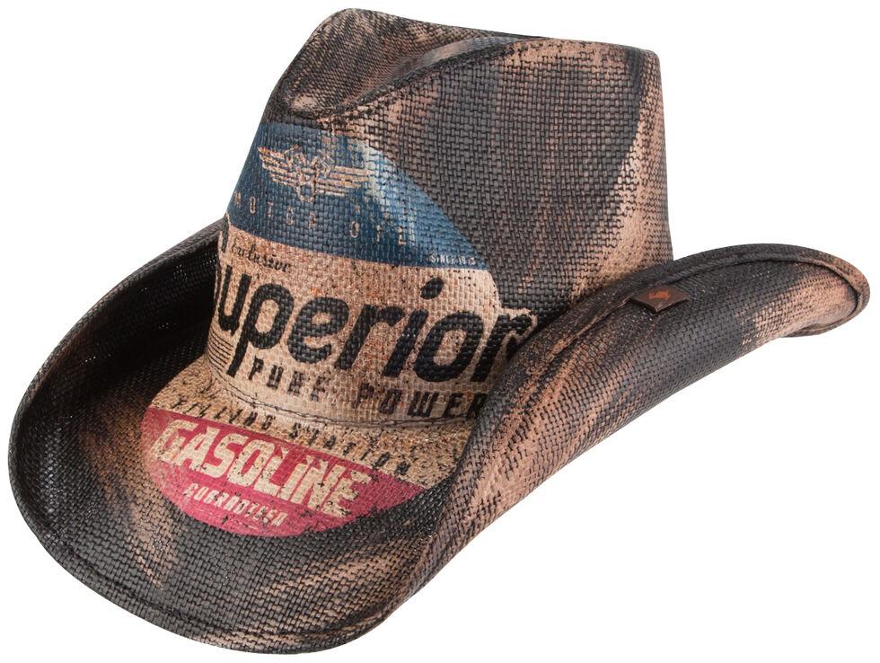 Peter Grimm Petro Printed Straw Cowboy Hat, Dark Brown, hi-res